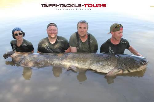 gruppenfoto mit wallergigant bei TAFFI TACKLE TOURS